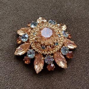 Austrian Glass Crystal Rhinestone Star Brooch Pin